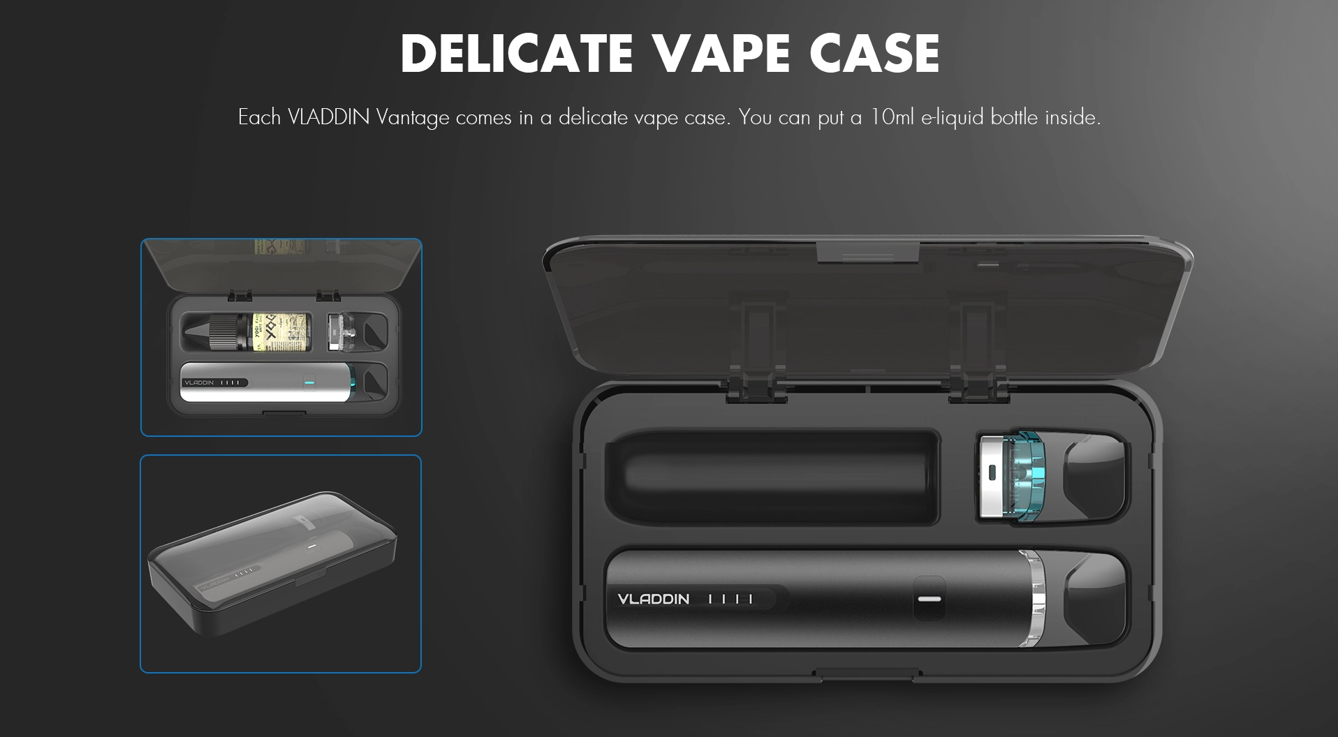 A black vape kit and carrying case against a black background.