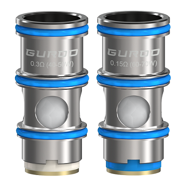 Two Aspire vape replacement coils designed for the Guroo tank.
