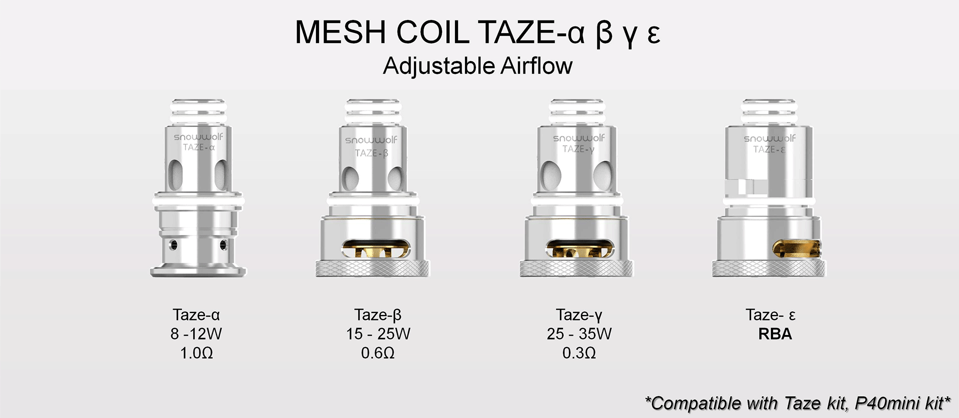Four silver vape coils with text surrounding each.