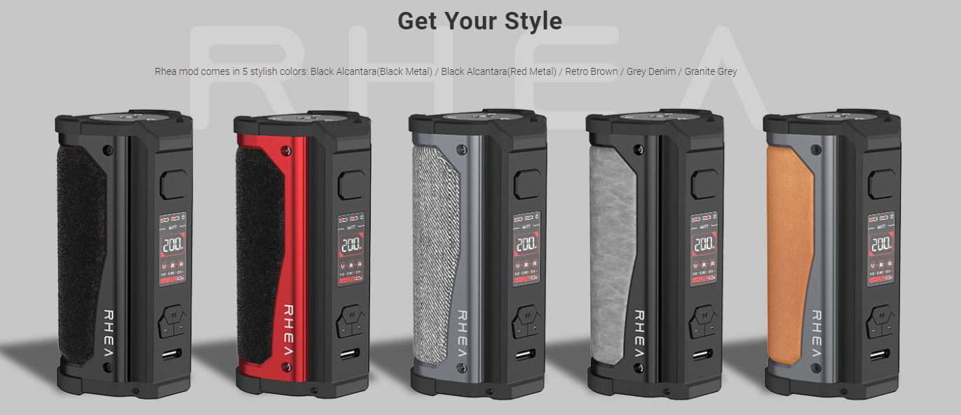 Several different-colored Aspire Rhea box mods displayed in a row.