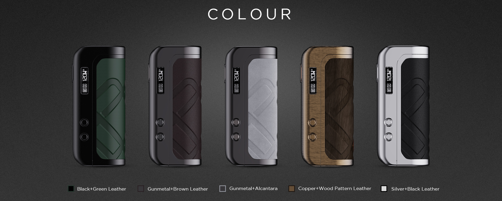 Several vape mods in different colors set on a dark background.