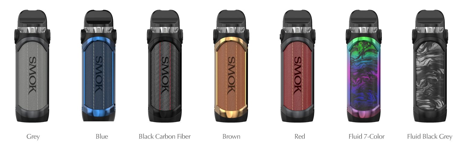 Seven SMOK pod devices in an array of colors.