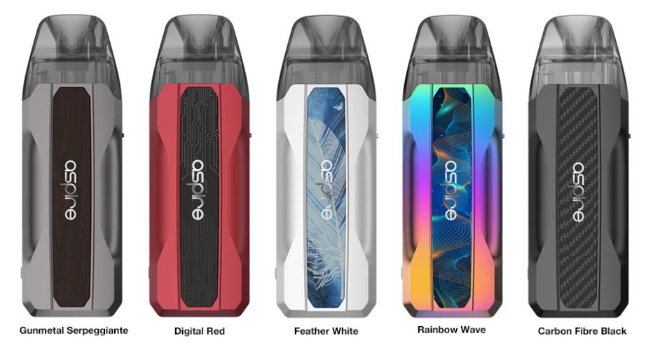 Five colorful Aspire Tekno vape pod devices with labels beneath.