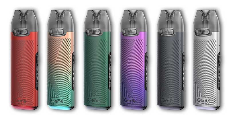 Six Voopoo vape devices displayed in a row in an array of colors.