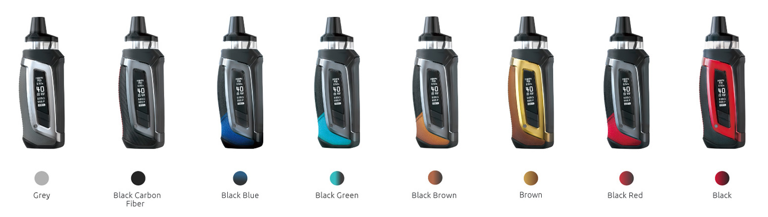 Several SMOK pod devices with their colors listed beneath them.