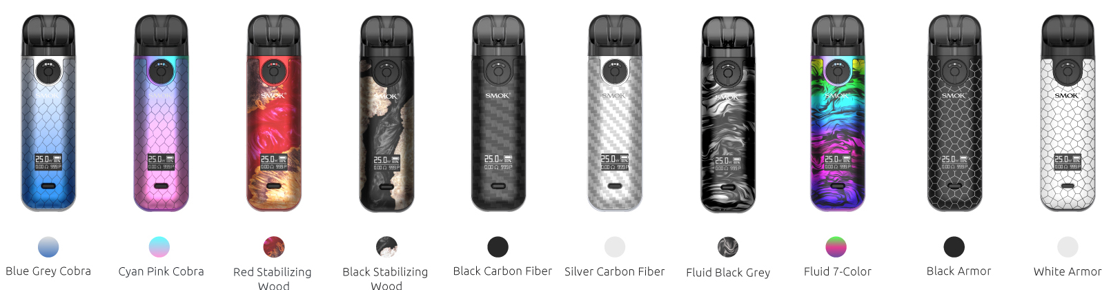 Several SMOK Novo 4 pod devices in a variety of colors and designs.