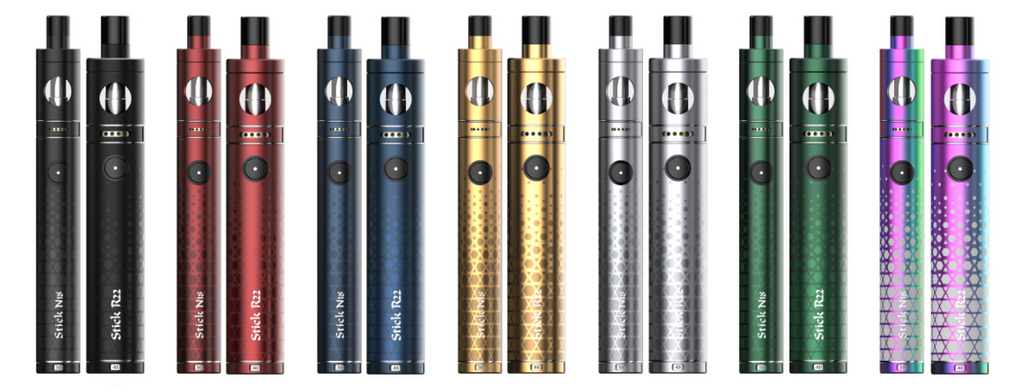 Many colorful SMOK vape pens displayed in a row.