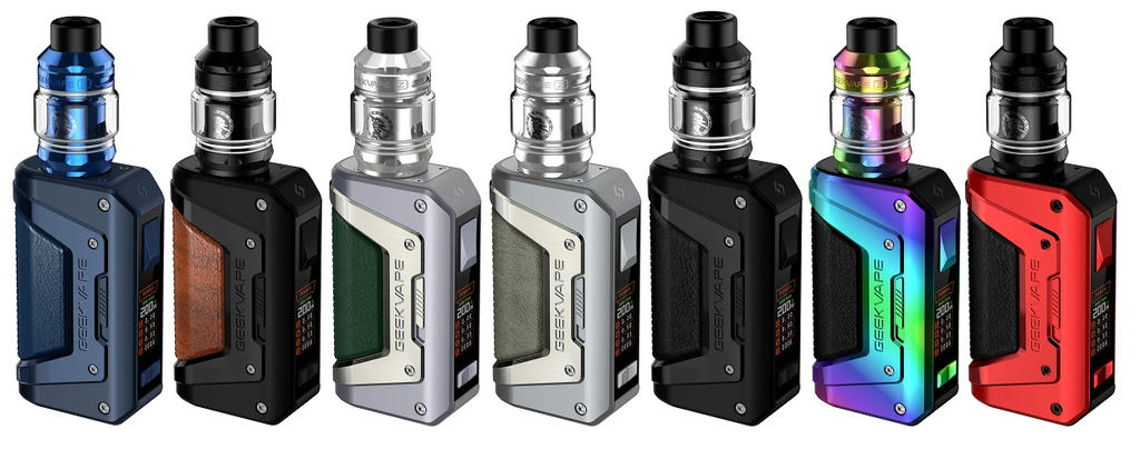 Several multi-colored Geekvape devices displayed in a row.
