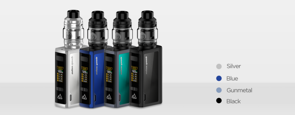 Four different colored Geekvape Obelisks on a white background.