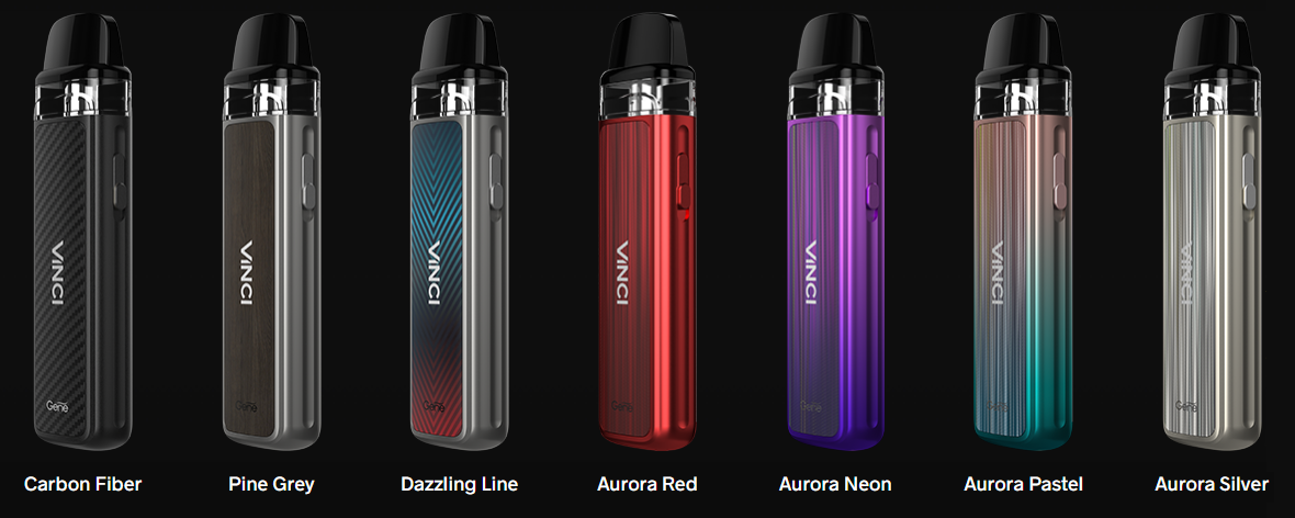 Several Voopoo Vinci Pod kits displayed in an array of colors.
