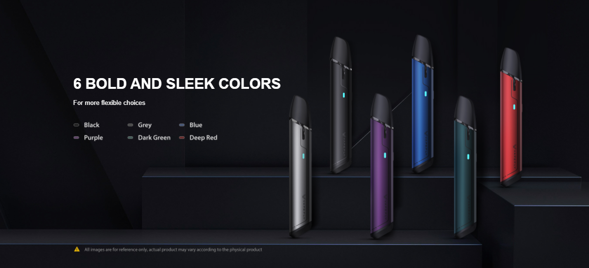 Six Vapefly pod devices displayed in different colors.