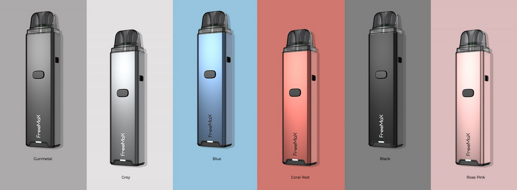 Several different colored Freemax vapes set on matching backgrounds.