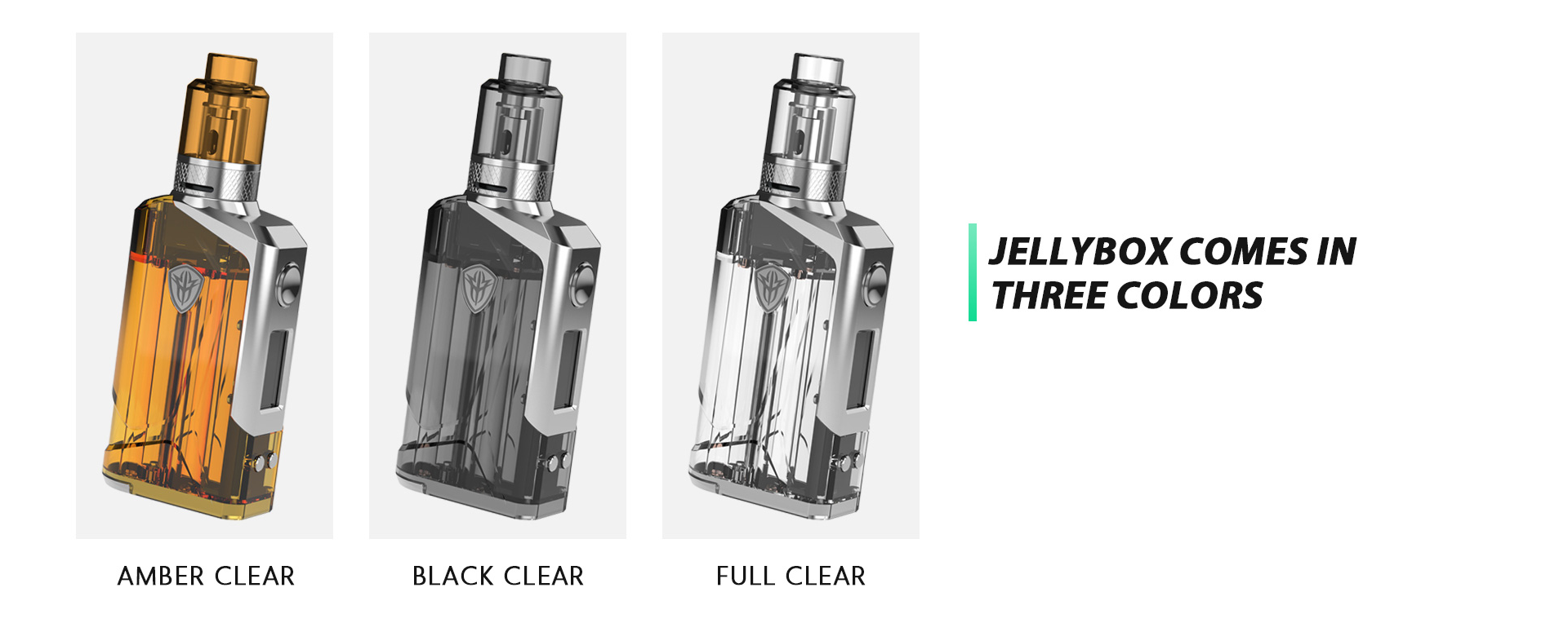 Three different colored Rincoe vape kits against a white background.