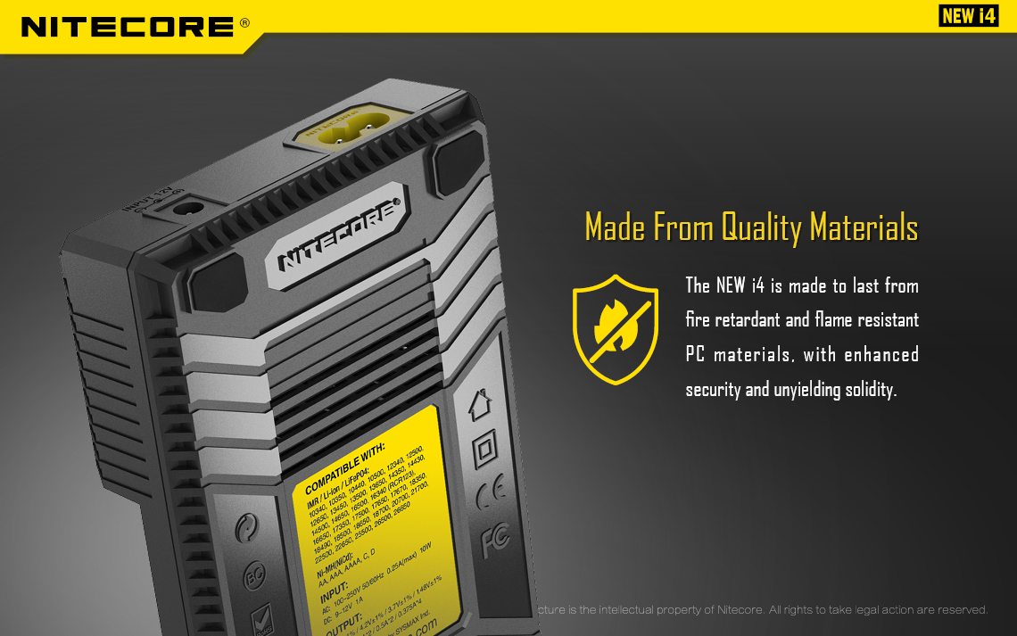 A black vape battery charger with a yellow sticker on the back.