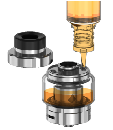 The Aspire Odan Evo vape tank, opened and being filled with vape juice.