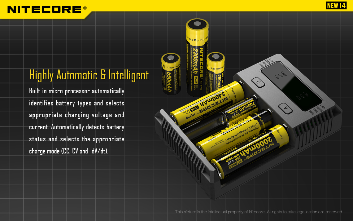 A graphic showing a Nitecore charger with yellow vape batteries inside.
