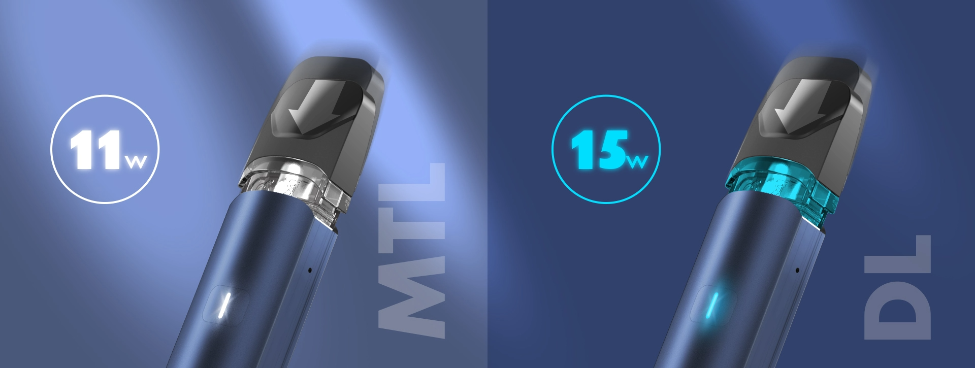 Two animated panels depicting a vape device's different airflow options.