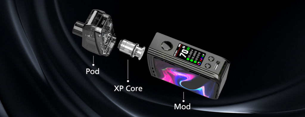 An exploded view of the Artery Nugget Plus pod device.