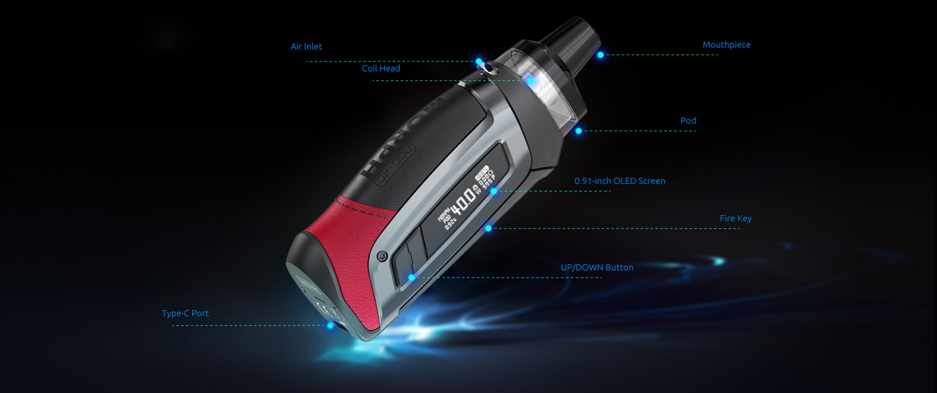 A silver SMOK pod device with text indicating its features.