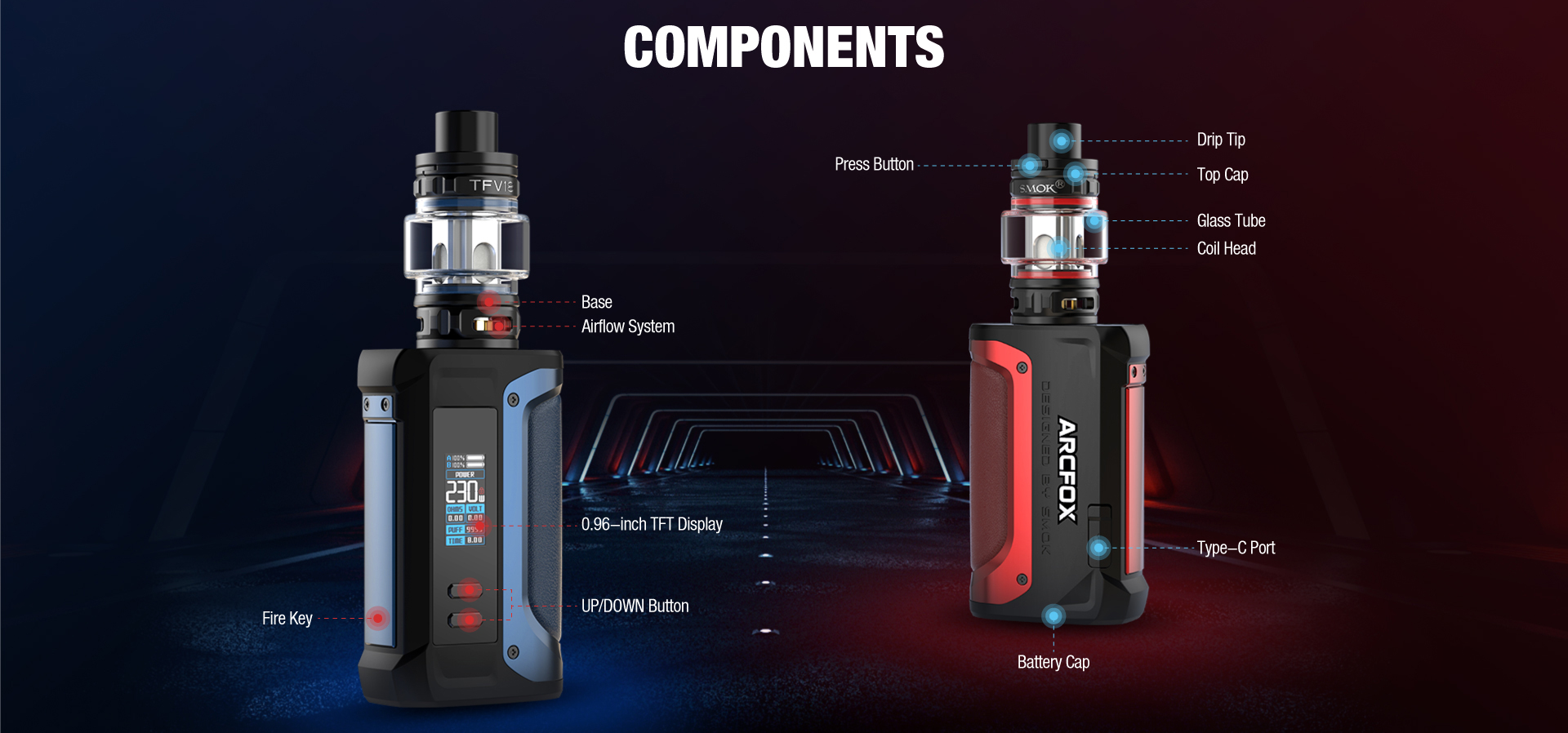 Two SMOK vape kits with arrows indicating special features.