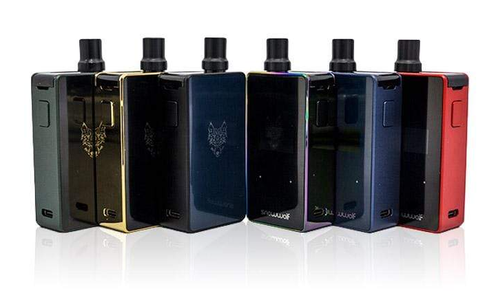 Six Snowwolf vape devices displayed in black and a variety of colors.