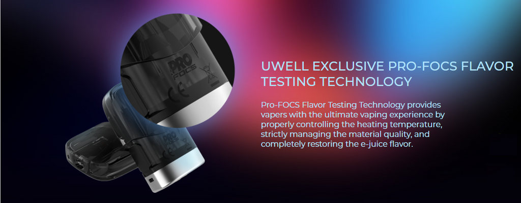 A Uwell vape pod with a close-up panel atop a colorful background.