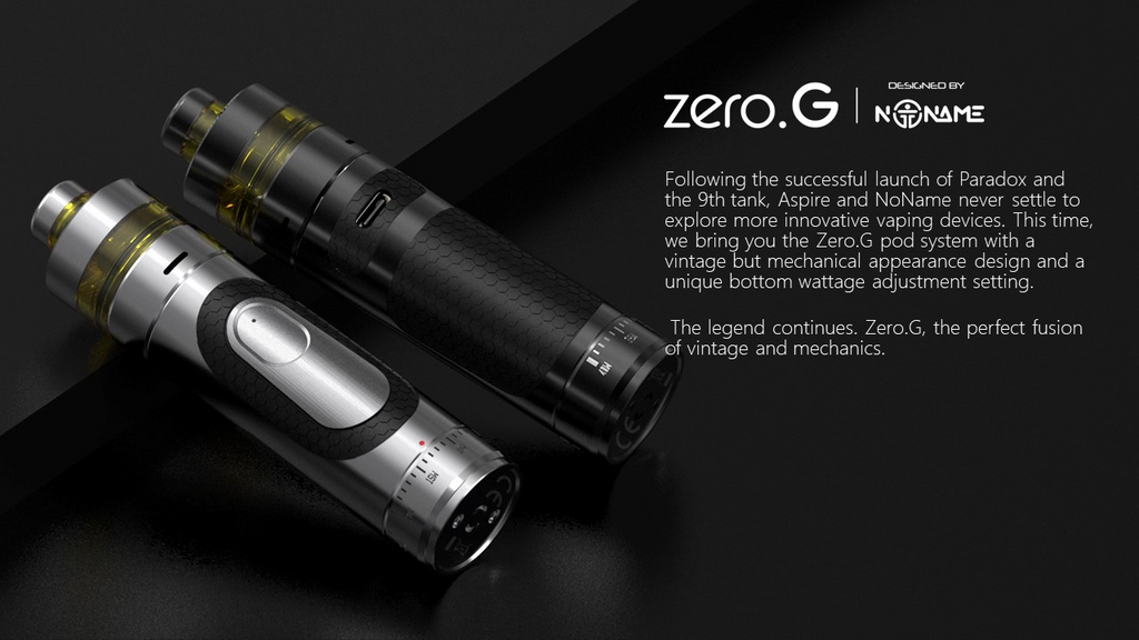 A vape pod device with text describing its features.