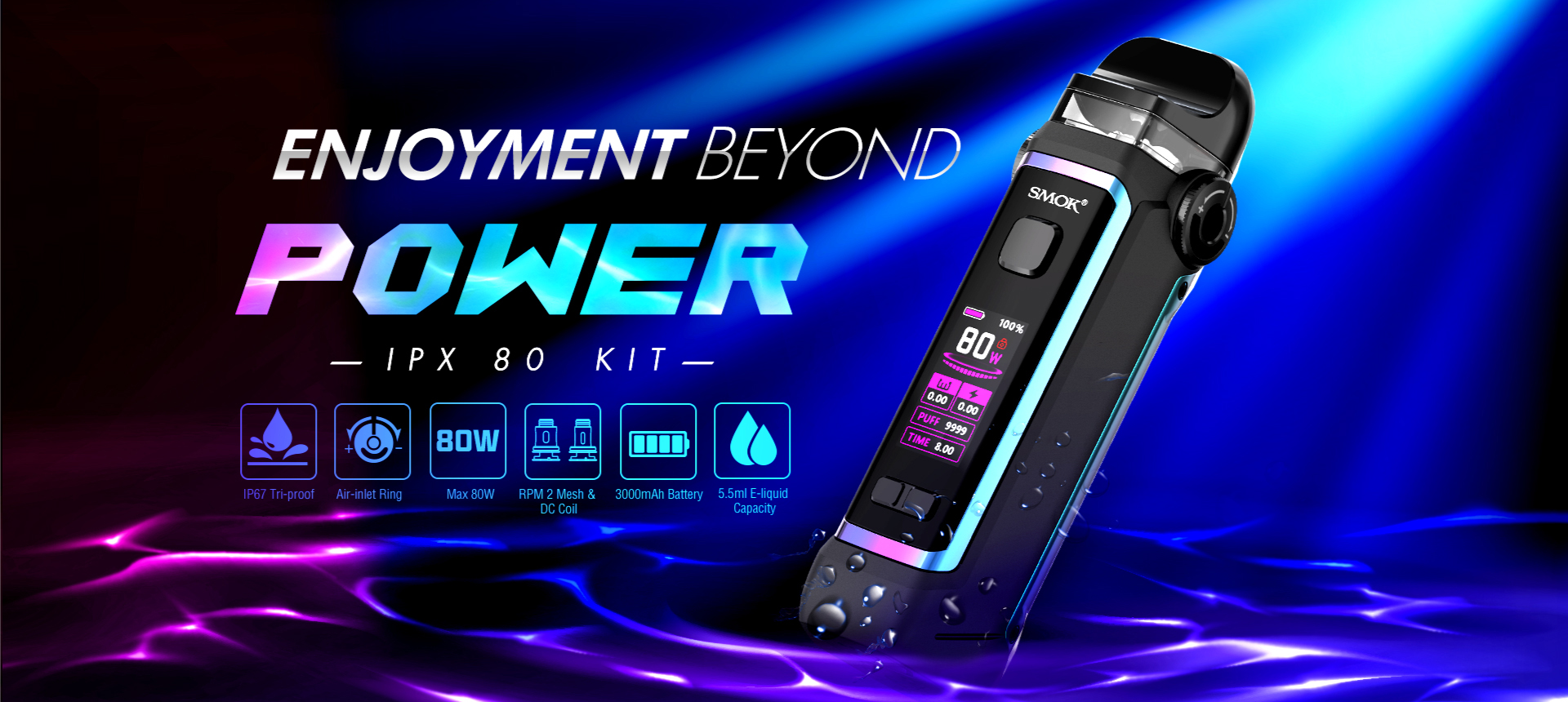 A colorful graphic displaying a SMOK vape device with text.