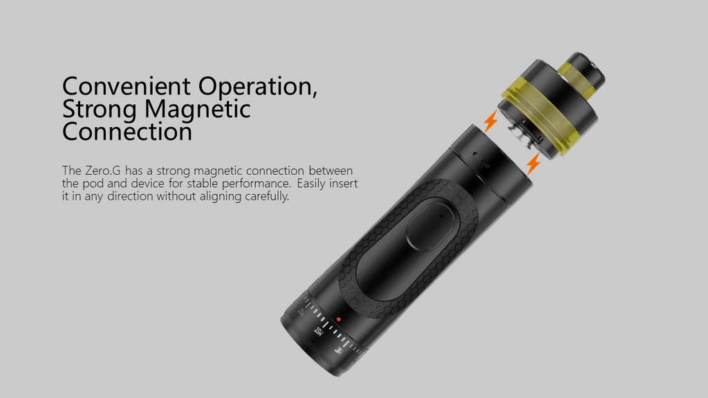 A black vape pod kit with informative text to the left.