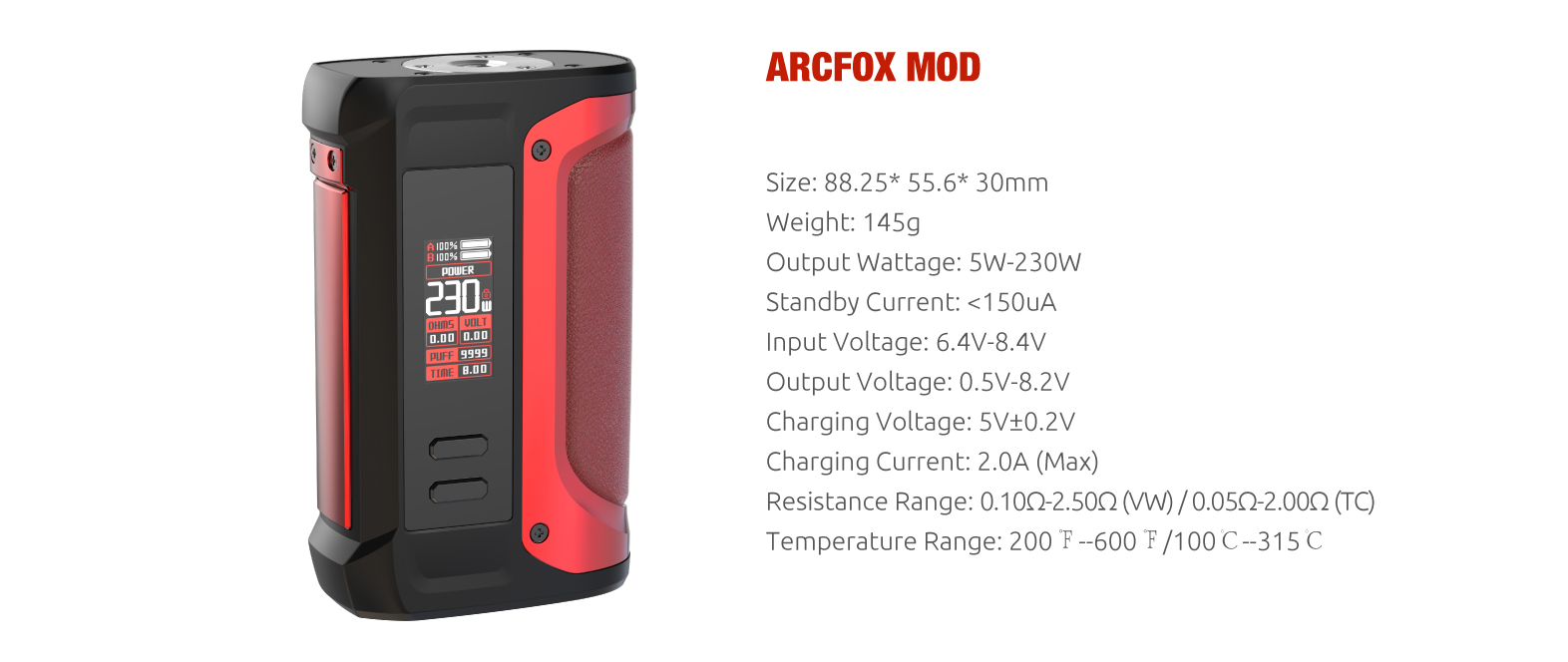 A black and red SMOK vape mod with specs listed to the right.