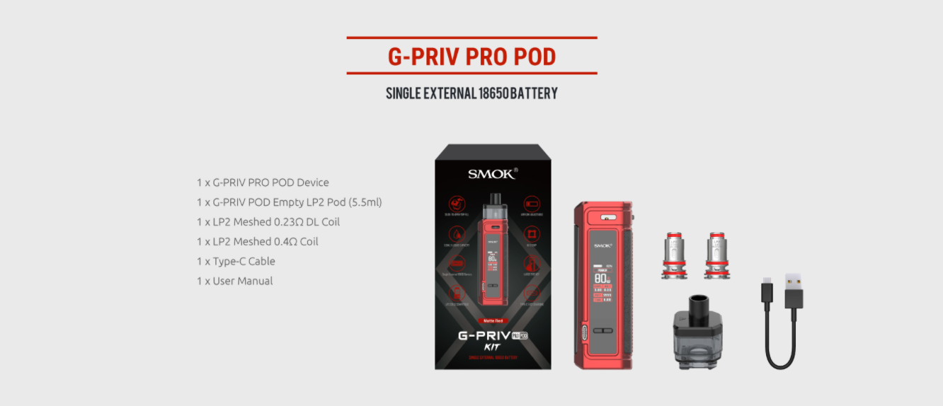 A SMOK G Priv Pro vape kit with all included parts displayed.