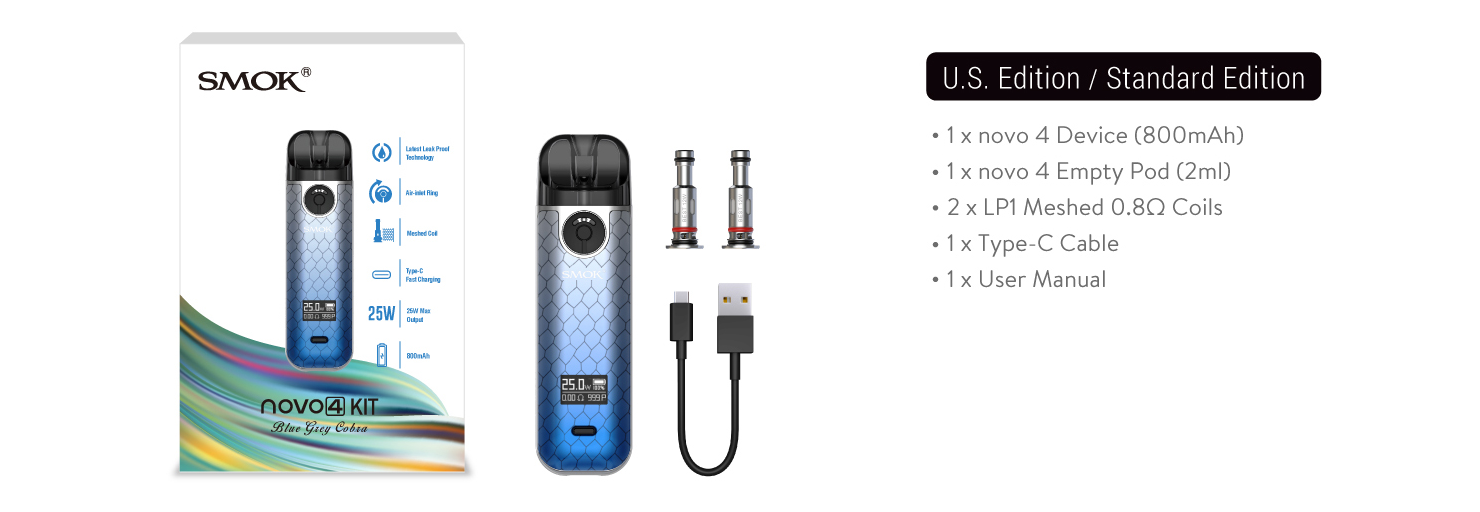 A SMOK Novo 4 kit with all included pieces displayed.