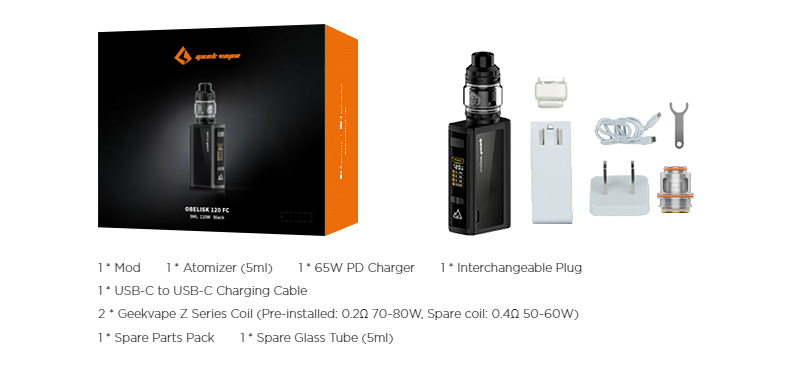 A Geekvape Obelisk kit with all included pieces displayed and listed.