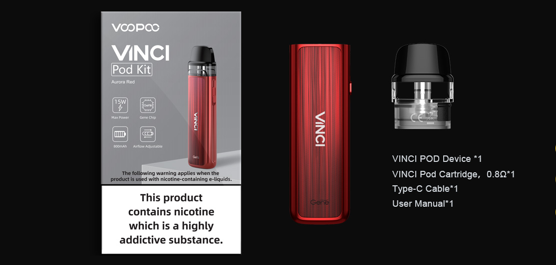 A red Voopoo Vinci Pod kit with all parts displayed.