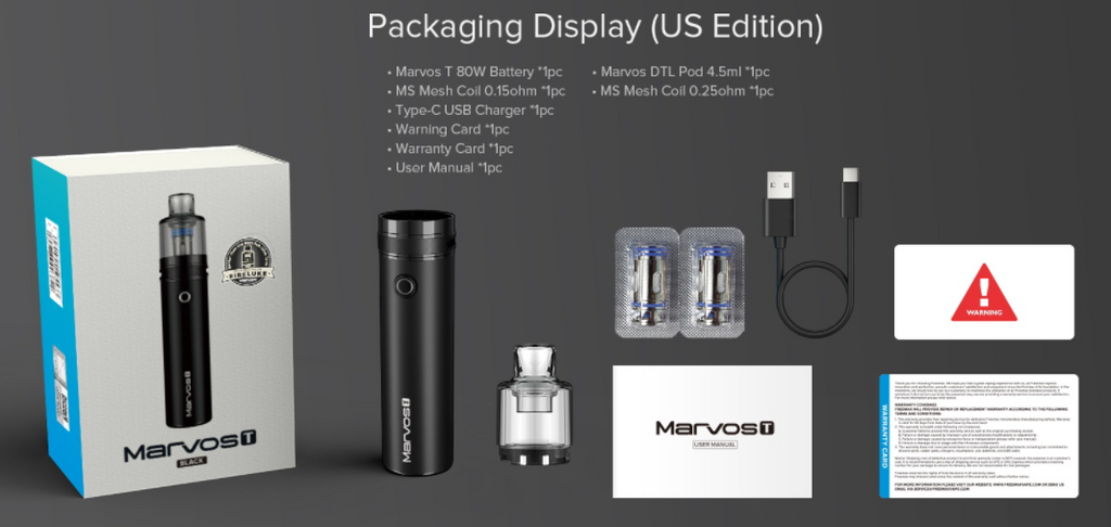 A Freemax Marvos T vape kit with all included parts displayed.