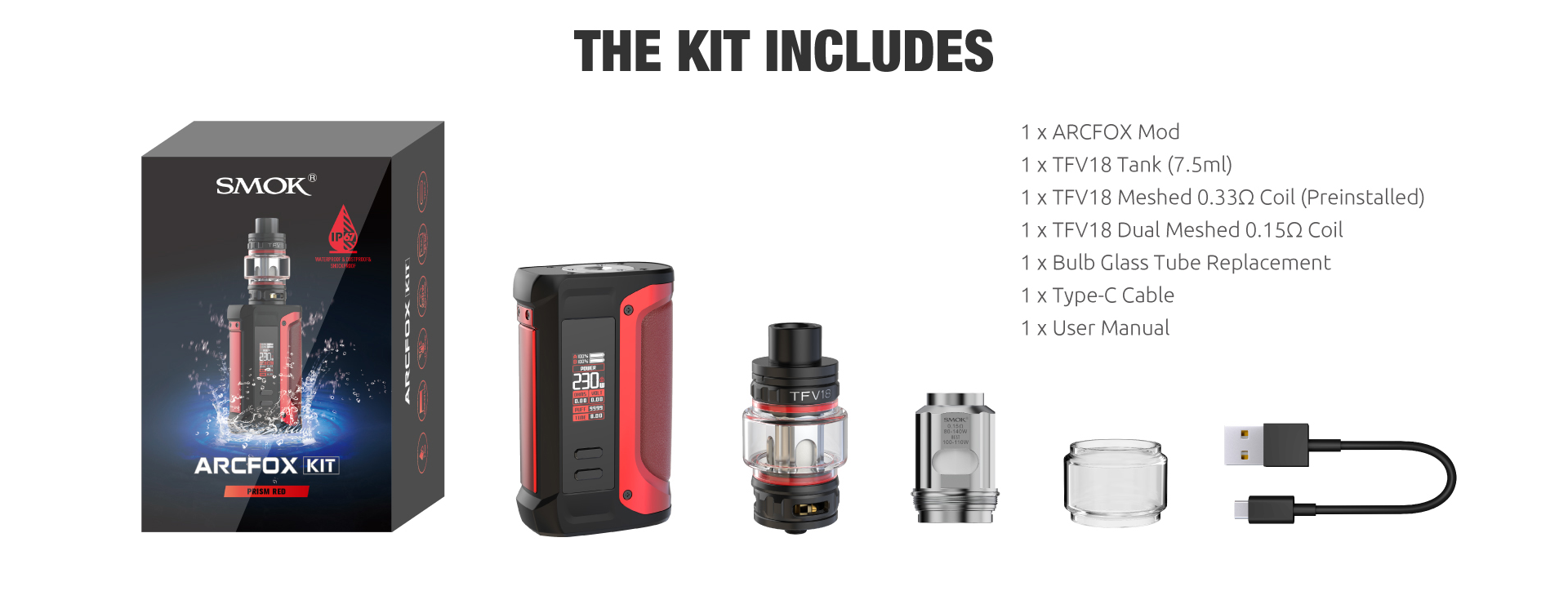 A SMOK Arcfox vape kit with all parts displayed and listed.