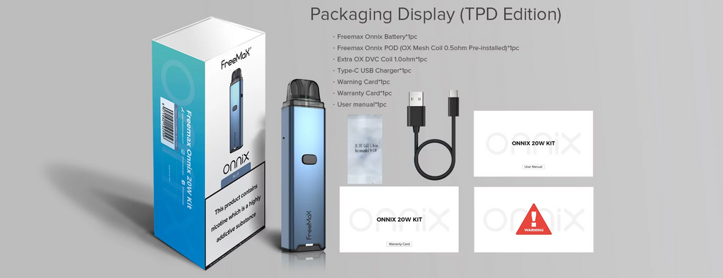 A Freemax Onnix vape kit with all parts displayed.