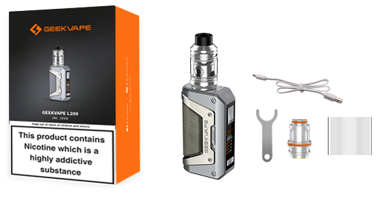A Geekvape L200 kit with all of its included parts displayed.