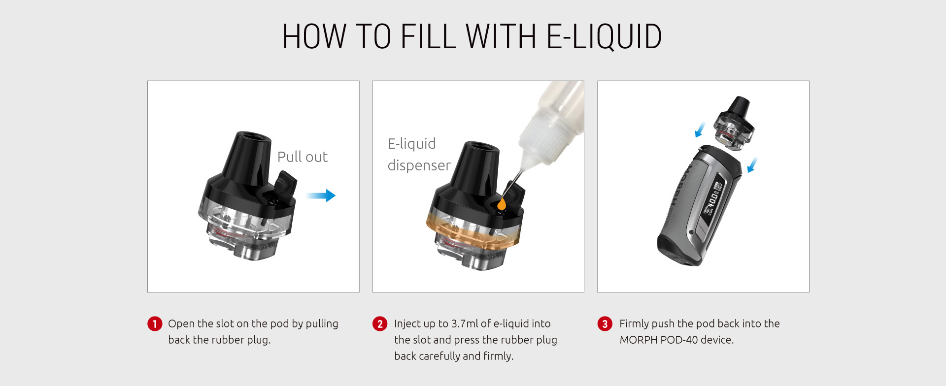 A three-paneled instructional graphic showing how to fill SMOK pods with vape juice.