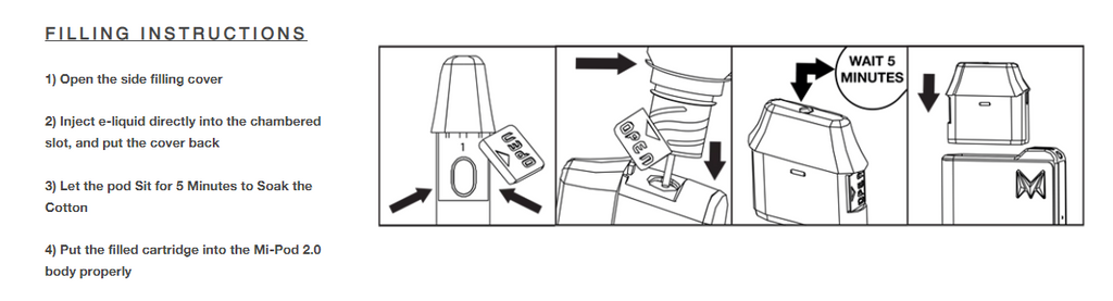 A four-paneled instructional describing how to fill a vape replacement pod with e-liquid.