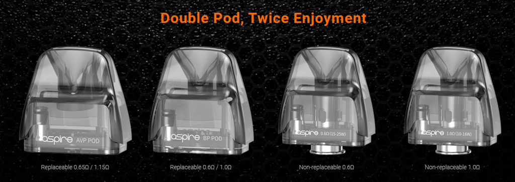 Four Aspire vape pods atop a black background with text surrounding.