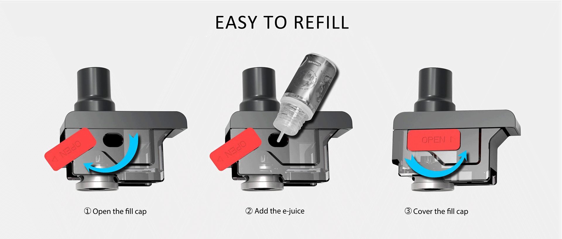 A 3-step instructional illustration about refilling vape replacement pods..