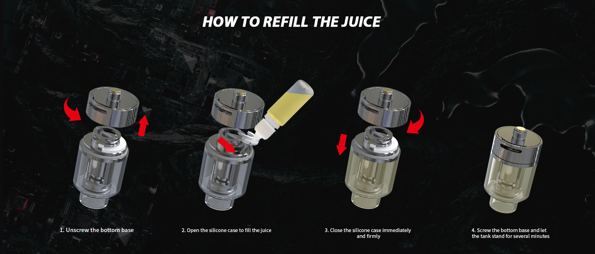 An informational graphic explaining how to fill a vape tank with e-liquid.