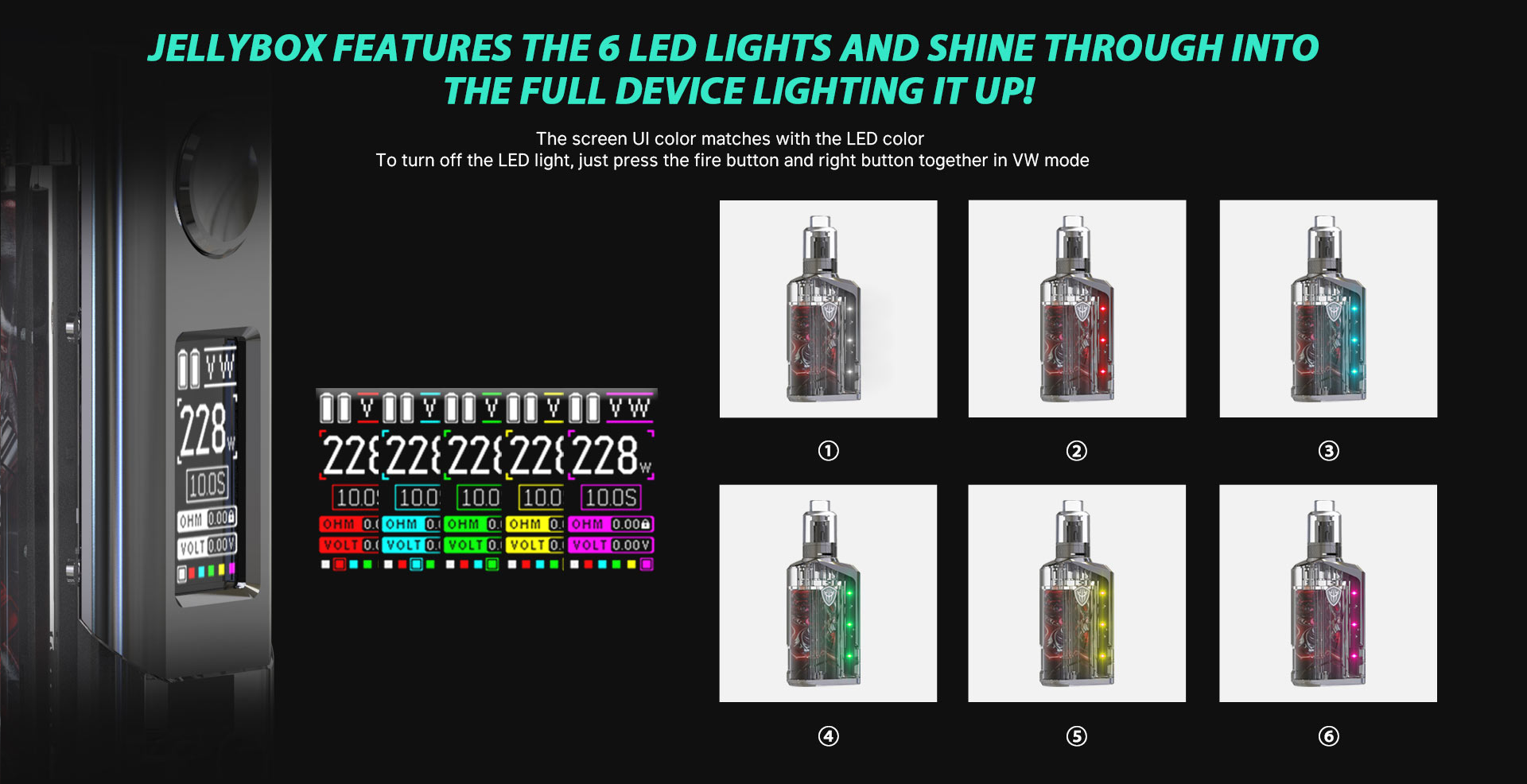 A graphic displaying the color options on the Rincoe Jellybox vape screen.