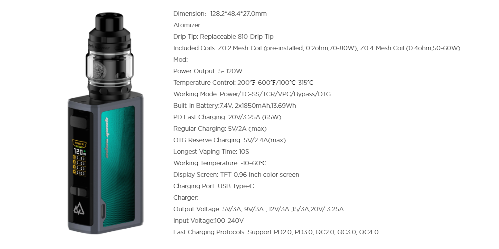 A green Geekvape Obelisk vape with specifications listed.