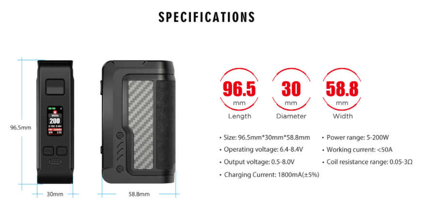 A black vape mod with specifications listed to the right.