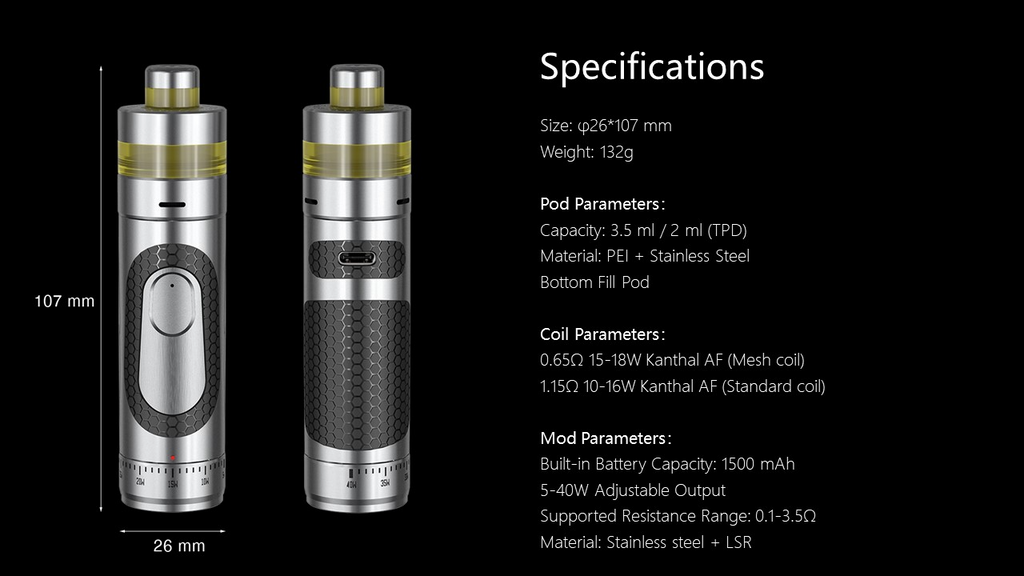 Two vapes atop a black background with informative text.