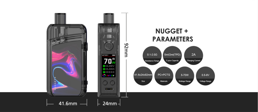 Two angles of a Nugget Plus pod device with specifications listed to the right.