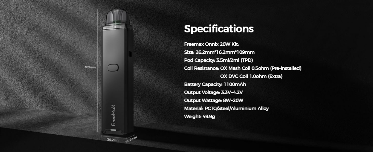 A Freemax pod device with its specifications listed.