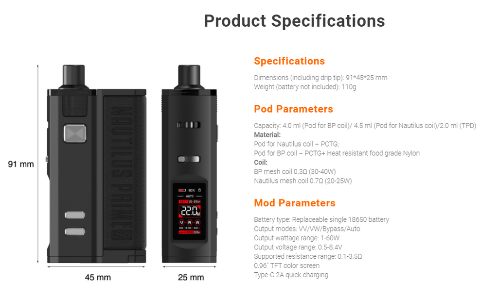A black Aspire pod device with its specifications listed.